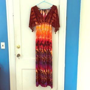 Vibrant feather fire maxi statement dress
